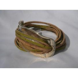 Bracelet double tour metal et cordons liège fins