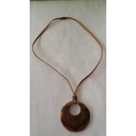 Collier cordon liège naturel, pendentif bois d'olivier