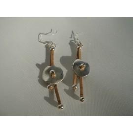 Boucles d'oreille liège et acier 9